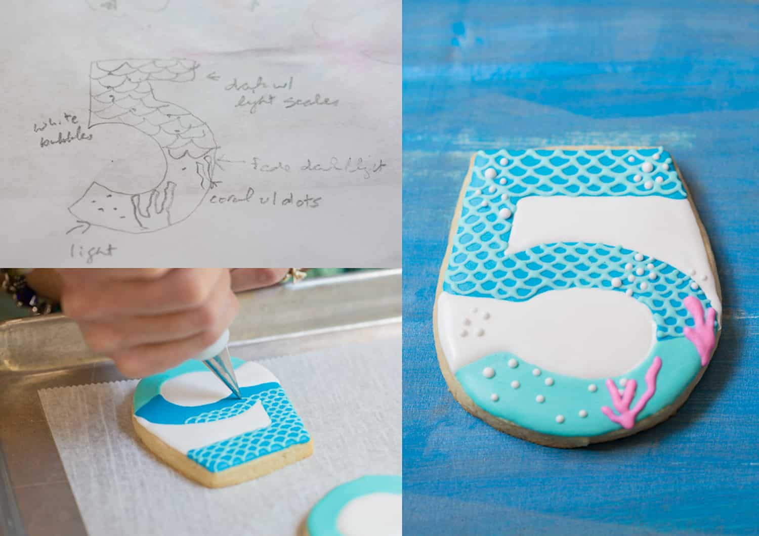 Susan Block hand decorating a sugar cookie based on a sketch.