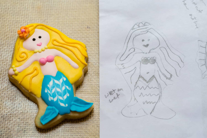 Mermaid cookie and sketch