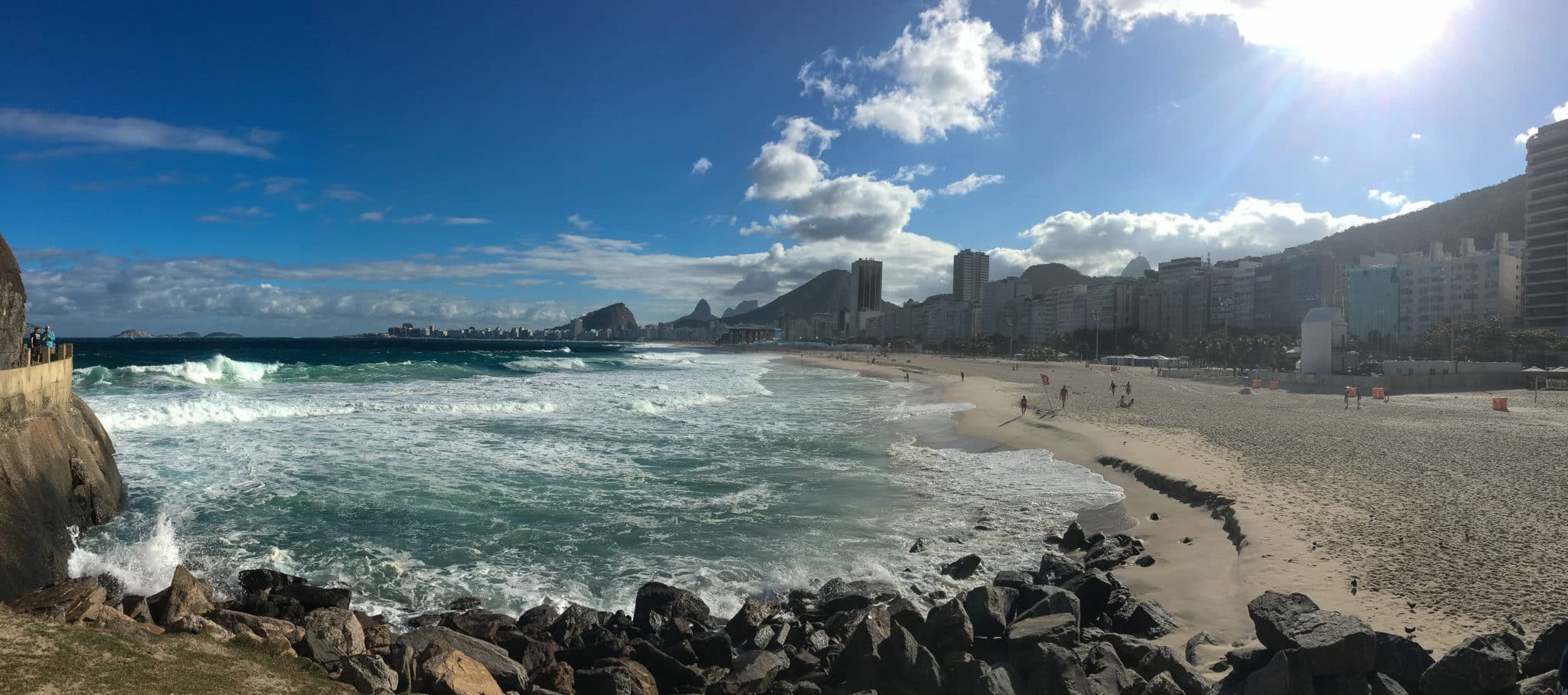 View of Copacabana Beach from the base of Sugarloaf Mountain.