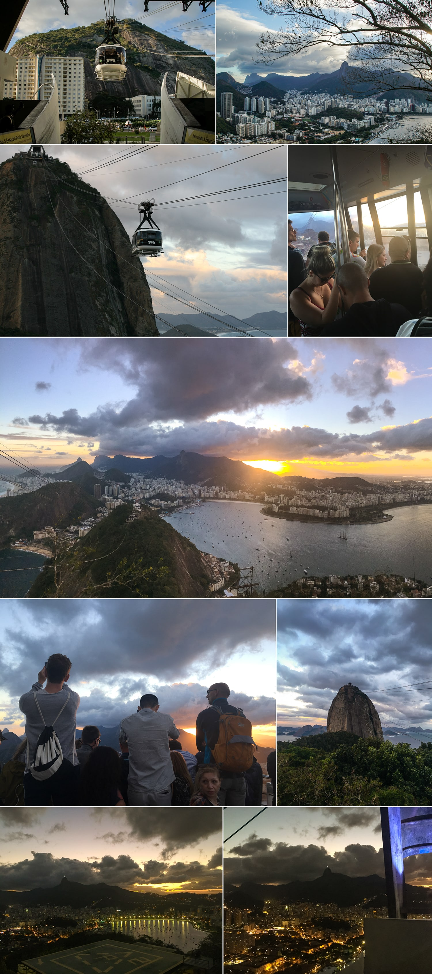 The views as the sunset over Rio from Sugarloaf Mountain.