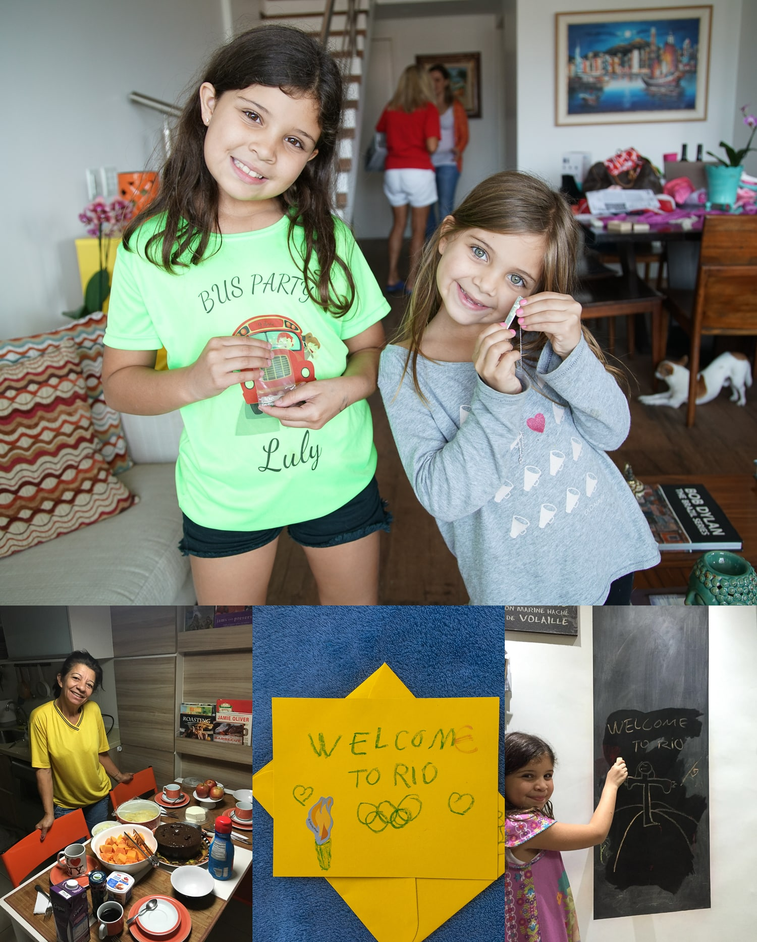 We were greeted by George and Paty's adorable daughters Gaby and Bia and their drawings. Their maid, Penha, also made us a full breakfast the next morning. What a nice surprise!