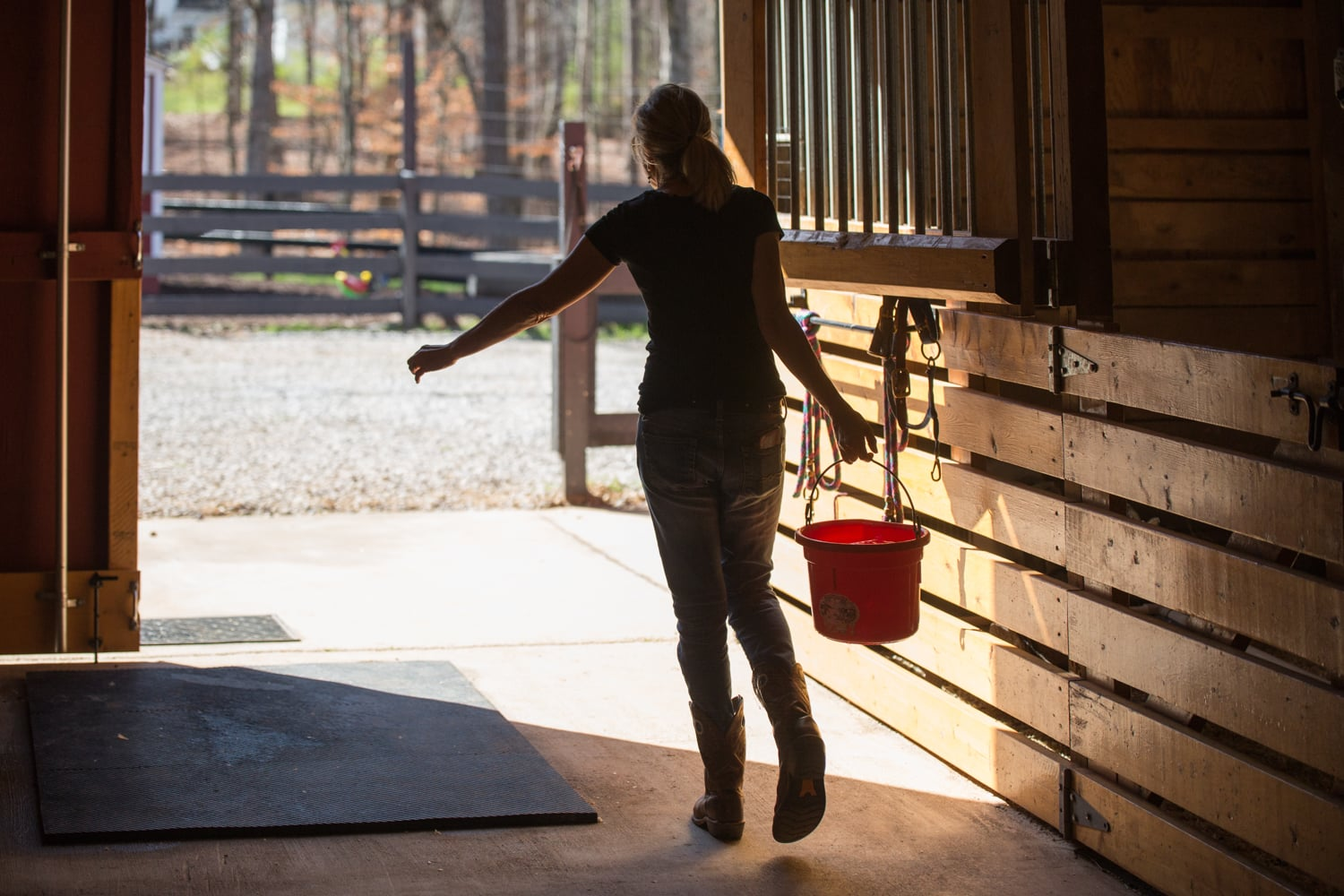 Cathi working in the barn