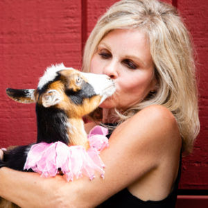 Cathi Huff and her baby goat in Milton, GA