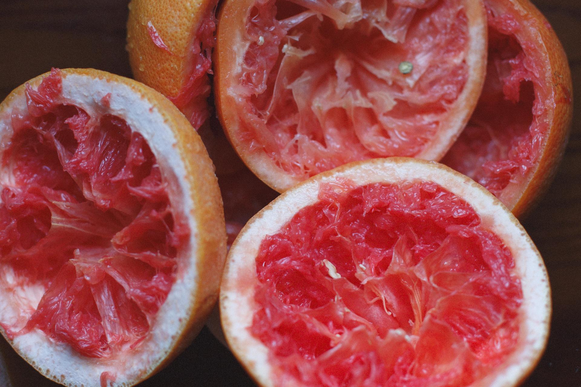 Grapefruit rinds after juicing